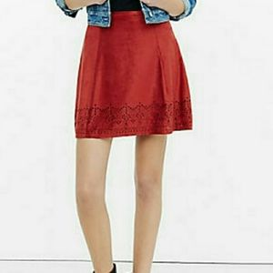 Express Suede Rusty Red Cut hem Skirt